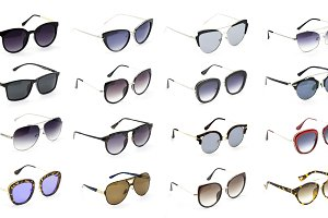 Group of beautiful sunglasses.