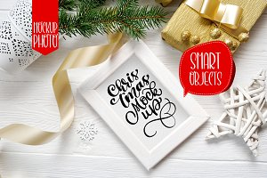 Christmas wooden frame with smart