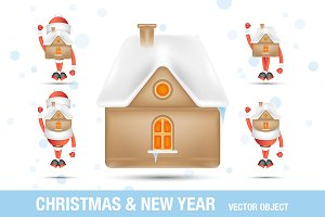 Xmas set - Santa Clauses and House