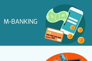 Concept of mobile banking, digital