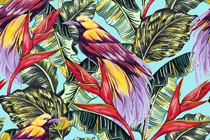 Birds of paradise tropical pattern