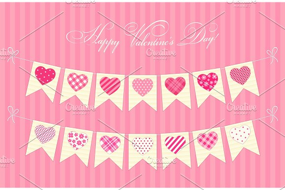 Cute Festive Retro Bunting Flags With Different Hearts