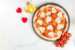 Pizza margarita for Valentine's day