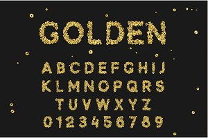 Gold Font set with letters from golden sequins