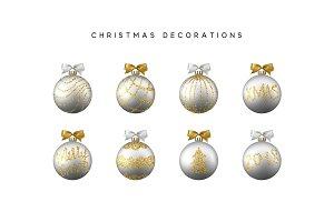 Xmas set balls silver color. Christmas bauble decoration elements
