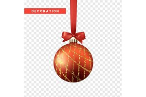 Xmas balls red and gold color. Christmas bauble decoration elements.