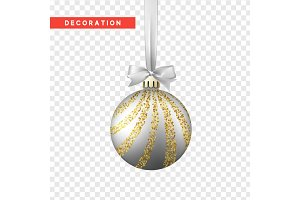 Xmas balls silver and gold color. Christmas bauble decoration elements.