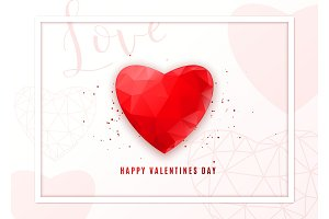 Valentines day geometric background. Greeting card with low poly style red heart