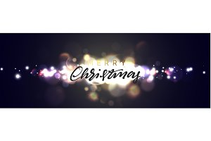 Merry Christmas greeting card, banner, poster, with light bokeh on night background