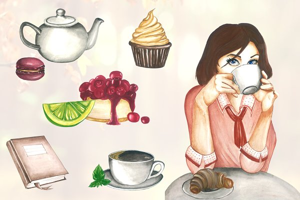 Morning Coffee Clipart - Watercolor