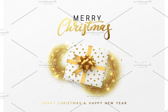 Merry Christmas greeting card. Xmas holiday background, gift box with gold tinsel and bright golden snowflake in Objects
