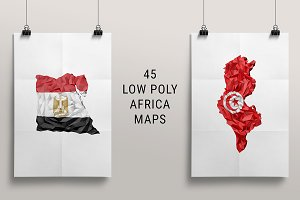 45 Low Poly Africa Maps