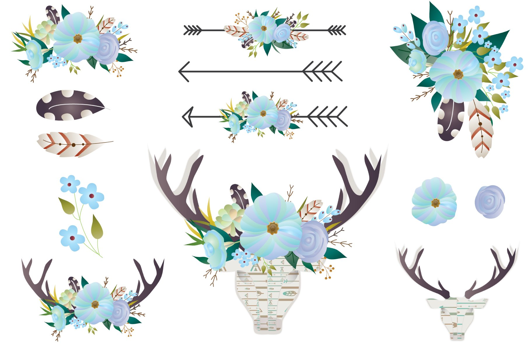 Boho Floral clip art - Deer antlers ~ Graphic Objects ...