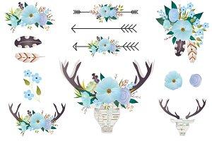 Boho Floral clip art - Deer antlers