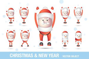 Xmas set - Santa Clauses and Snowman