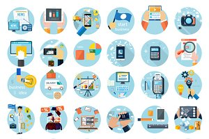 Icons set for business presenteshion