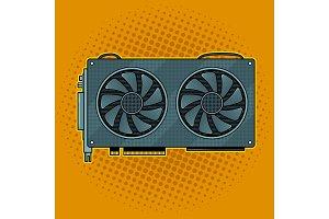 Graphics card pop art vector illustration