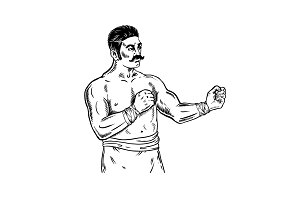 Vintage boxer engraving vector illustration