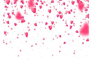 Heart confetti background. Falling from above pink love particles. Blurred petal