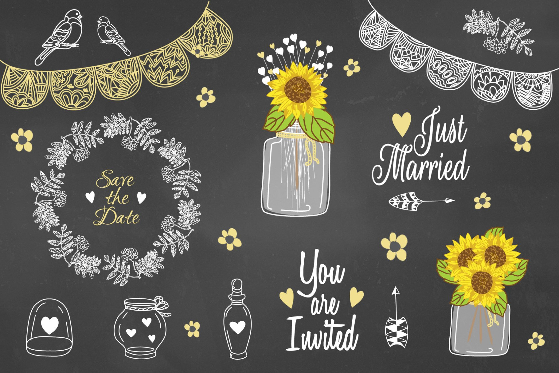 Sunflower Mason Jar Rustic Clipart Graphic Objects Creative Market