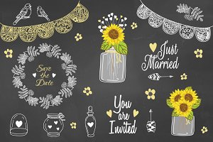 Sunflower Mason jar Rustic Clipart