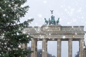Bradenburg Gate with Christmas tree