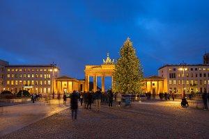 Bradenburg Gate with Christmas tree