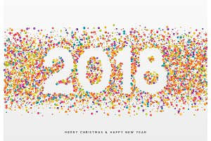 2018 Happy New Year. Colorful confetti and white numbers, design for postcards, banners, posters, website.
