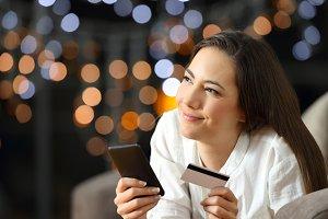 Portrait of a happy woman wondering