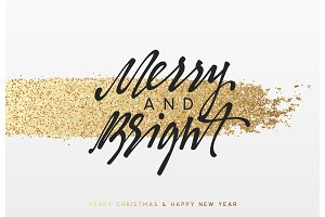 Christmas and New Year background with shining gold paint brush. Xmas greeting card