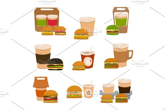 A Set Of Tasty Burgers And Coffee Drinks To Takeaway Vector Illustration