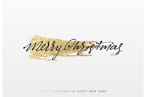 Christmas background with shining gold paint brush. Xmas greeting card