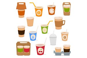 a set of glasses for drinks: coffee, juice, tea, water, cocoa. Vector cartoon illustration