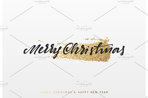 Christmas background with shining gold paint brush. Xmas greeting card