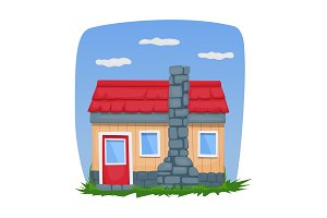 A small wooden house with a chimney. Vector illustration.