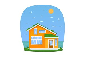 Yellow house by the sea. Vector illustration.