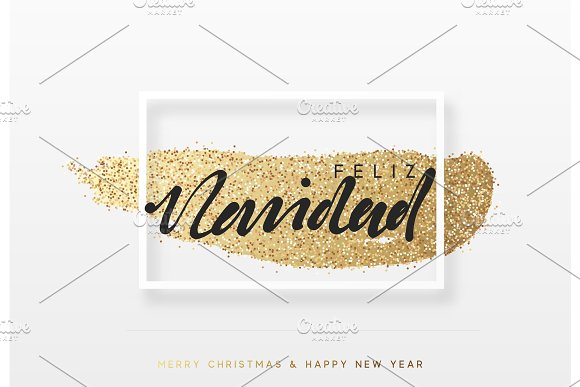 Spanish Feliz Navidad. Christmas background with shining gold paint brush. Xmas greeting card