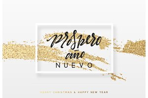 Spanish Prospero ano Nuevo. Christmas background with shining gold paint brush. Xmas greeting card