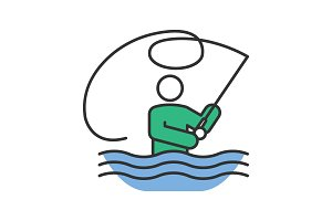 Fly fishing color icon