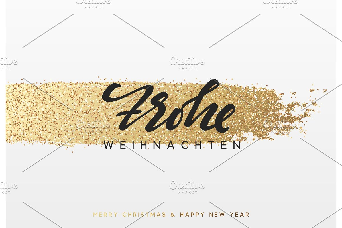 Frohe Weihnachten Gold.German Lettering Frohe Weihnachten Christmas Background With Shining Gold Paint Brush