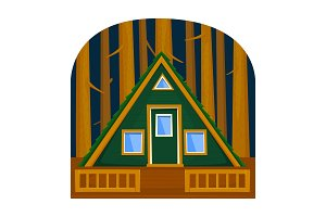 A forest triangular house among the trees with a terrace. Vector illustration.