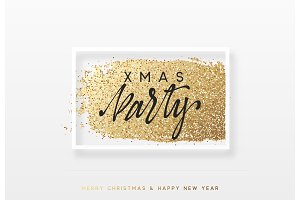 Christmas and New Year luxury gold background. Xmas greeting card