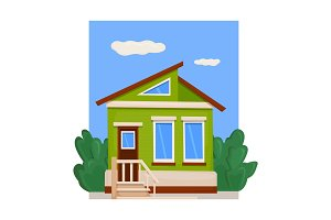 A wooden board house with a green facade and a porch. Vector illustration
