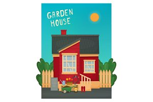 Red wooden garden house. Garden attributes, tools, plants. Vector illustration.