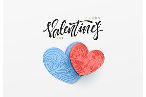 Happy valentine day. Paper art heart love in the style of quilling. Vector illustration