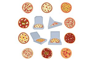 A set of open boxes with pizza. A set of pizza. Vector illustration.