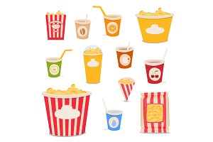 Paper packaging with popcorn and drinks: cone, glass, bucket, package. Vector cartoon illustration