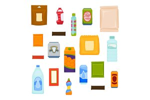 Packages of snacks, chocolate, chips, juices, drinks. Products for vending machines. Set of vector packs for design.