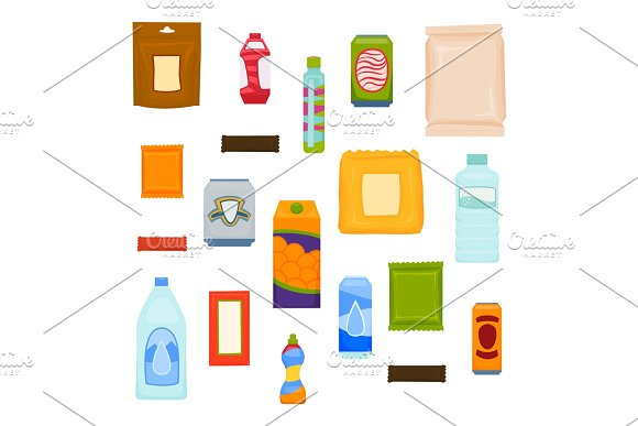 Packages Of Snacks Chocolate Chips Juices Drinks Products For Vending Machines Set Of Vector Packs For Design