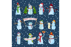 set of holiday snowman on a winter background. Snowmen in different hats and scarves with posters and New Year's attributes. Vector illustration.